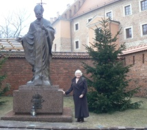 Proud to stand by the statue of Pope John Paul 11 in his home town of Krakow