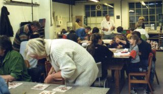 Staff, Parents and Children helped make the tile frieze at jackfield Tile Museum