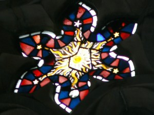 tained Glass window in the chapel at Cirencester Agricultural College