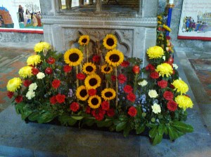 A harvest time floral creation in Hereford cathedral