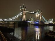 Tower Bridge seen from South Bank at 11pm