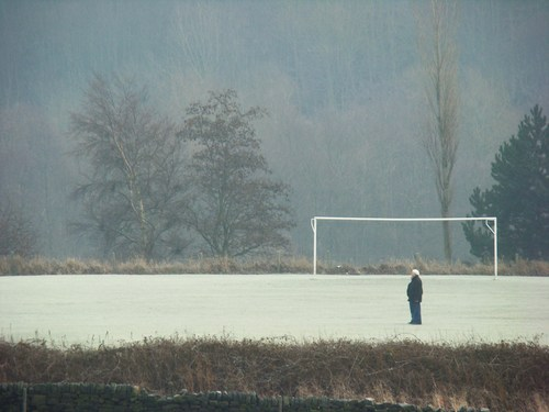 frosty football pitch