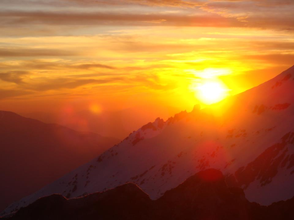 sunset over snowy mountain in Chile – Heavenhappens