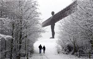 angel of the north in snow