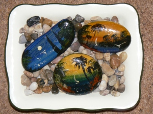 Painted pebbles from Russia and beach pebbles from Spain