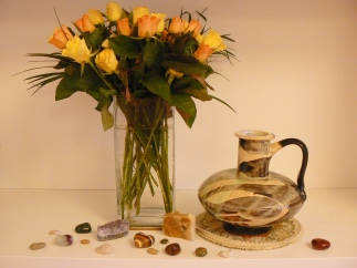 My favourite flowers, vase and small stones