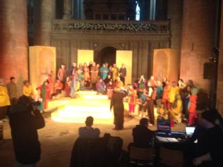 Whole cast rehearsing the Gloucester Mystery Plays
