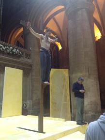 Jesus brilliantly played by Lawrence Aldridge is crucified in Gloucester cathedral