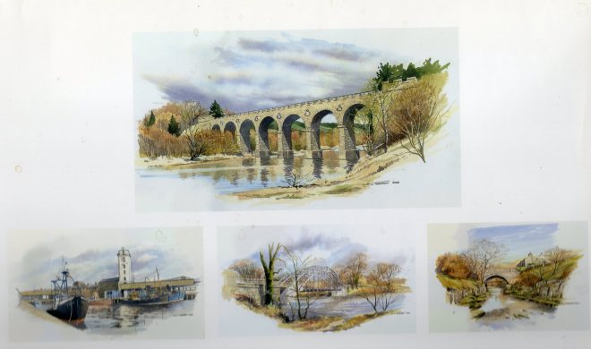 bridges on the Tyne painted in watercolour by Ron Thornton.jpg