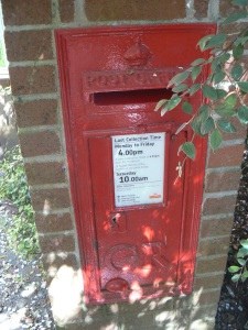 Original George V postbox at Lost Gardens of Heligan.