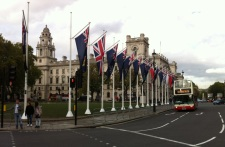 Flags and London Tour Bus