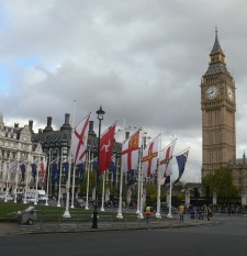 Flags near Big Ben