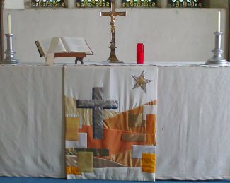 Embroidered Altar cloth in the chapel