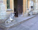 Stone lion and dragon outside Croft Court