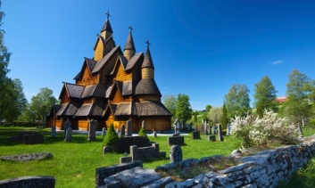 The impressive exterior of Heddal Stave Church, Norway's largest wooden Stavekirke, Notodden, Norway