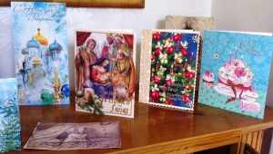Glass cabinet Christmas cards from Russia and Poland