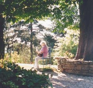 My mum painting in Painswick Rococo Gardens