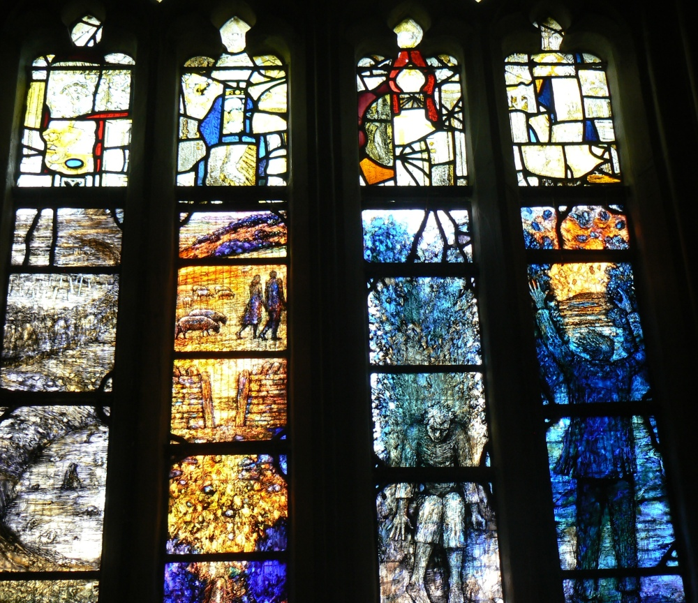 Stained Glass Window in memory of Ivor Gurney, WW1 Composer and Poet of Gloucestershire (2/6)