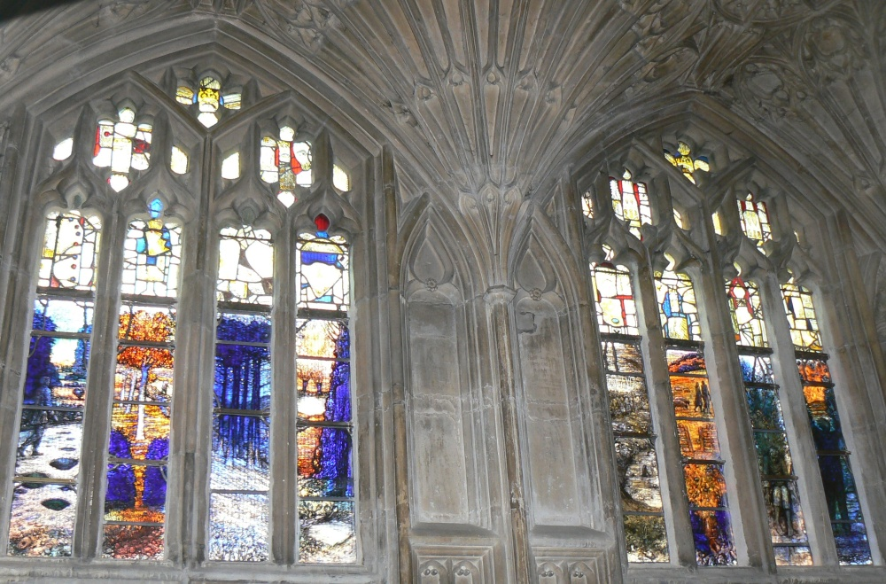 Stained Glass Window in memory of Ivor Gurney, WW1 Composer and Poet of Gloucestershire (3/6)