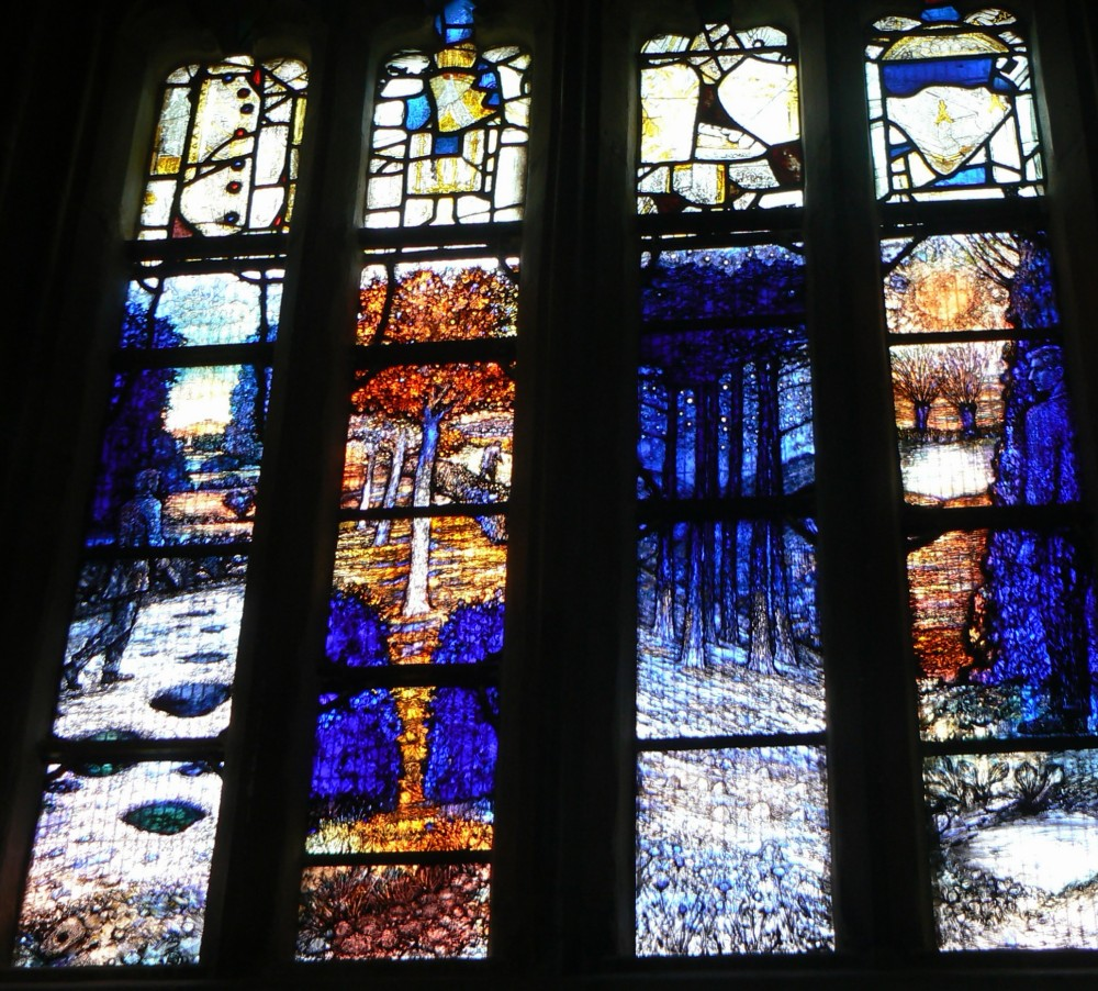 Stained Glass Window in memory of Ivor Gurney, WW1 Composer and Poet of Gloucestershire (1/6)