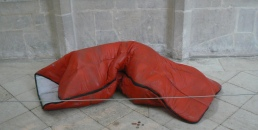 Entitled Nomad, this is a ceramic sleeping bag to represent homelessness