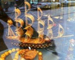 Ship made of Amber in a Krakow shop window