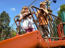 Grandchildren on an orange slide with complimentary haircolour!