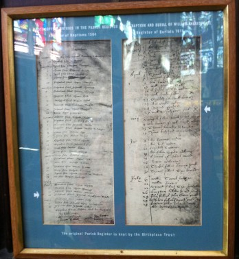 copy of baptismal and burial records of will shakespeare