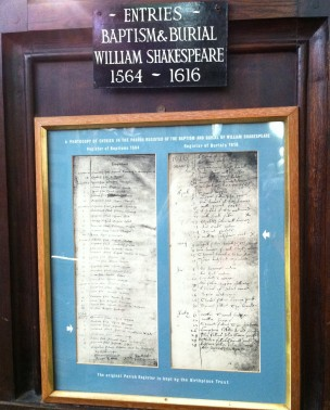 copy of baptismal and burial records of will shakespeare2