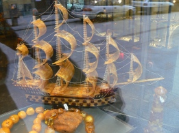 Model Amber ship in a shop window in Krakow, Poland