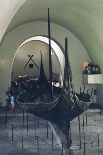 Ancient Viking longboat, belonged to a Viking King and is preserved so well because it was buried with him.