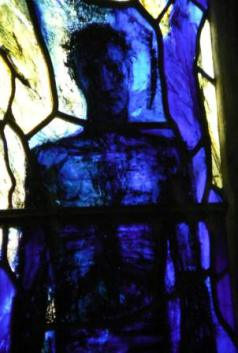 Blue Stained Glass Window at Gloucester cathedral detail
