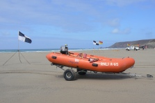 Orange Lifeboat on Porthtowan Beach
