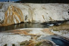 close up thin crust over supervolcano at yellowstone