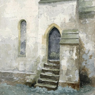 Door at Withington Church Watercolour by Fr Stephen Horton