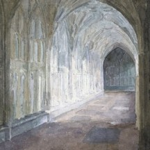 Door in Gloucester Cathedral Cloister Watercolour by Fr Stephen Horton