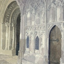 Entrance Door to Chapter House from Cloisters at Gloucester Cathedral Watercolour by Fr Stephen Horton