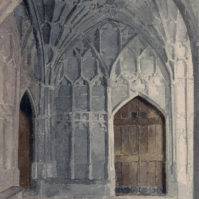 Slype Door at Gloucester Cathedral Watercolour by Fr Stephen Horton