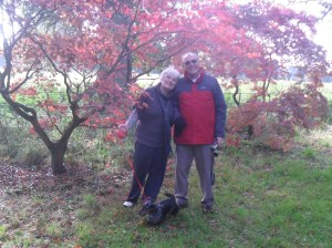 In the woods with hubby and dog