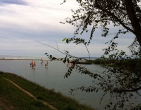 Wind surfers getting ready