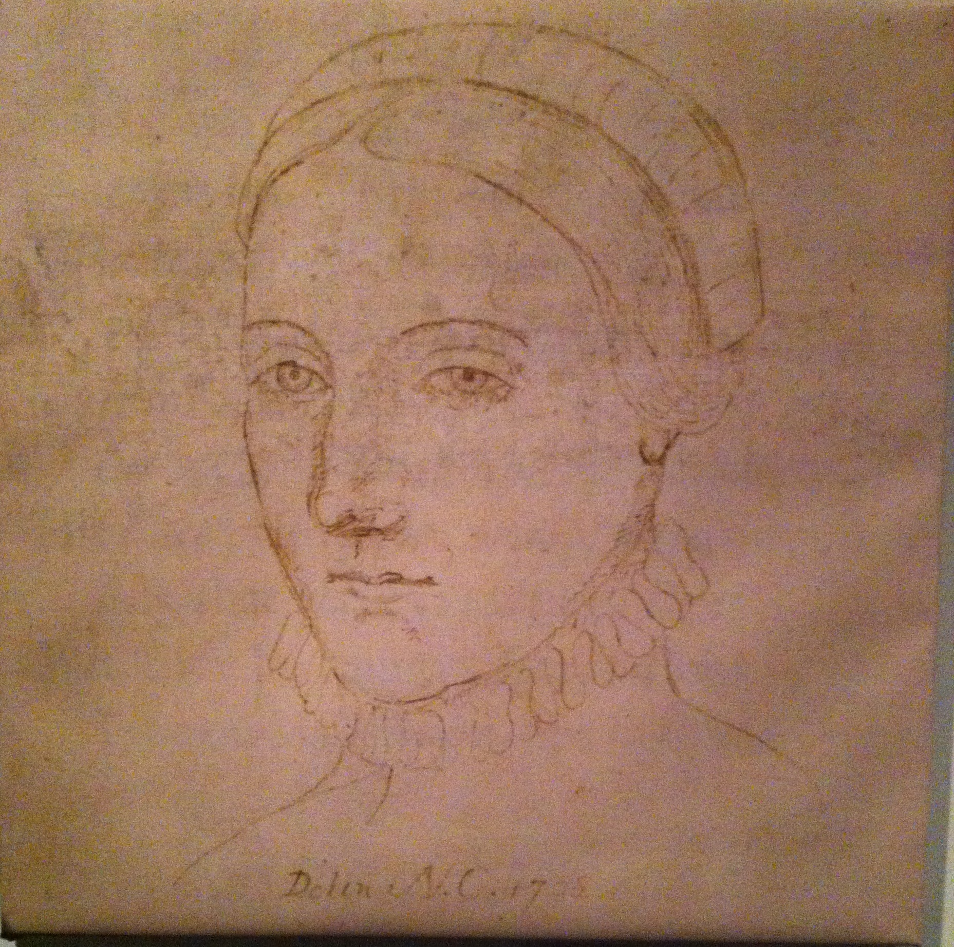 Sketch of Ann Hathaway from her lifetime.  The only one in existence