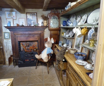 Peter rabbit inside the Tailor's shop