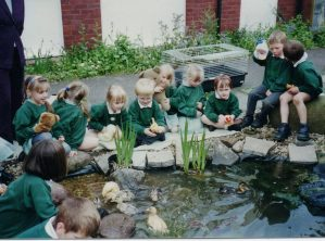 Year 1 by the duck pond with recently hatched ducklings