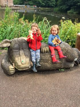 Stanley and Thea atop the Gruffalo
