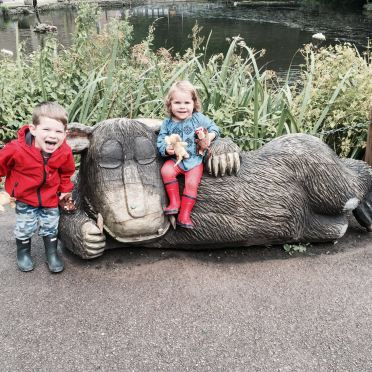 Having fun atop the Gruffalo