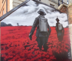Wall painting to remember the fallen in WW1