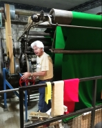 Ian Mackintosh from Stroudwater Textile Trust demonstrating the water-powered machinery at Dunkirk Mill