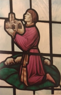 Detail of John Fortey on stained glass window, gifting the church to God