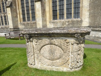 Beautifully carved tomb in the cemetery at Northleach
