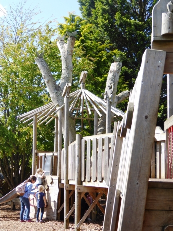a wooden playground structure